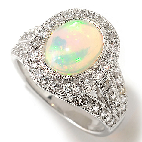 125-473 - Gem Insider Sterling Silver 10 x 8mm Opal & White Sapphire Ring