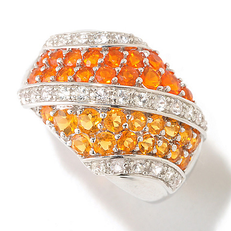 125-474 - Gem Insider Sterling Silver 1.16ctw Fire Opal & White Sapphire Diagonal Band Ring
