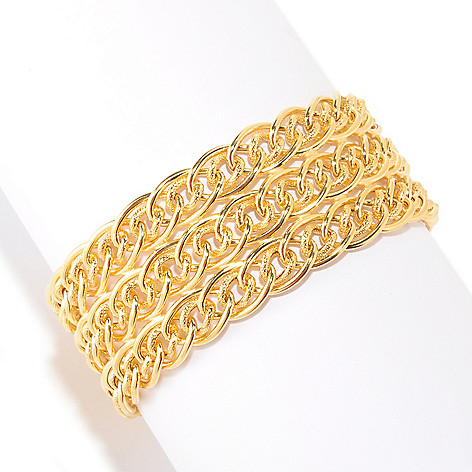 125-486 - Portofino Gold Embraced™ Triple-Row ''Intreccio'' Curb Link Bracelet