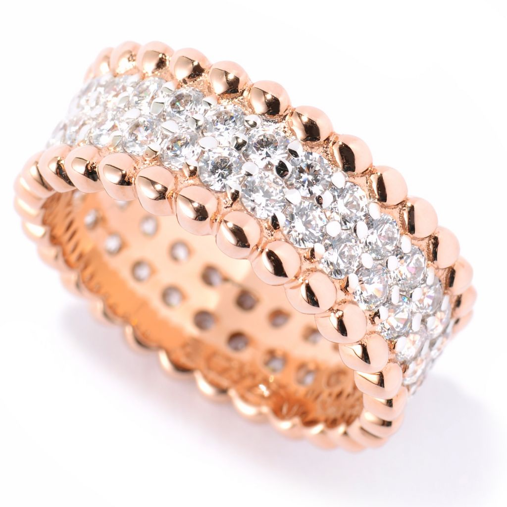 125-501 - Sonia Bitton 1.56 DEW Pave Set Simulated Diamond Bead Textured Eternity Band Ring