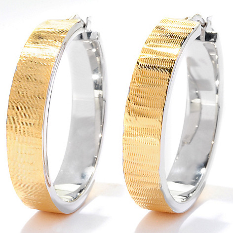 125-505 - Portofino 18K Gold Embraced™ Two-tone Square Edge Hoop Earrings