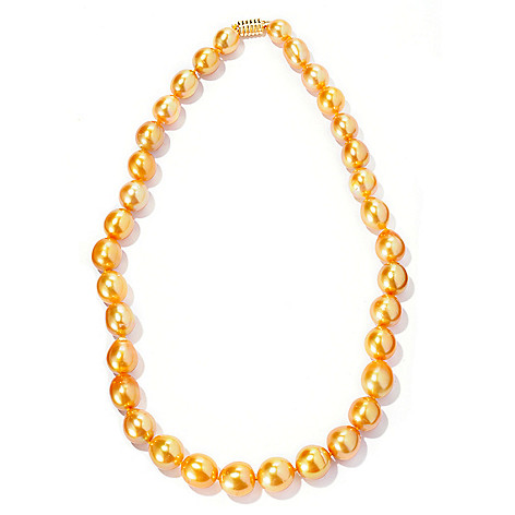 125-559 - 14K Gold 18'' 9-11mm Natural Colored Golden South Sea Cultured Pearl Necklace