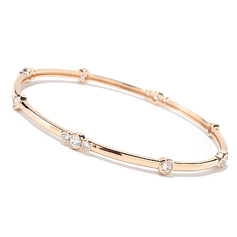 125-561 - Sonia Bitton for Brilliante® 1.92 DEW Round Cut Bezel Set Station Bangle Bracelet