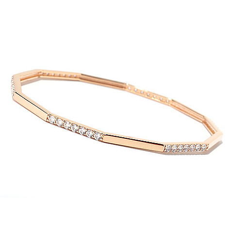 125-562 - Sonia Bitton Round Cut Fancy Shaped Simulated Diamond Bangle Bracelet