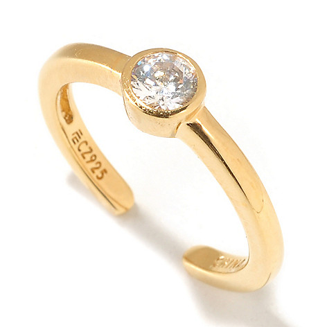 125-580 - Brilliante® Round Bezel Set Simulated Diamond Adjustable Solitaire Toe Ring