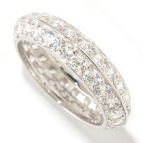 125-581 - Brilliante® Platinum Embraced® 2.64 DEW Two-Row Simulated Diamond Eternity Band Ring