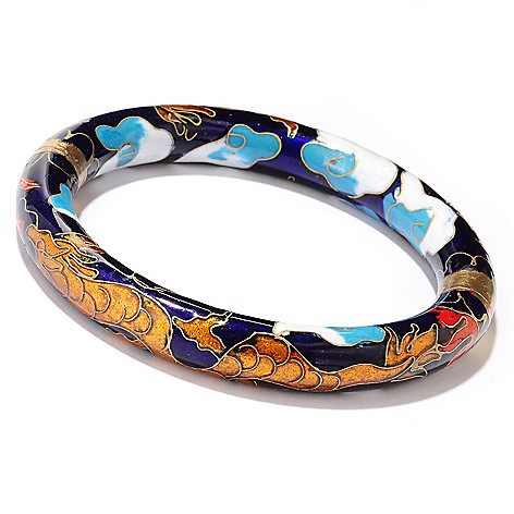 125-602 - Blue Cloisonne 7.5'' Hinged Dragon Bangle Bracelet w/ Magnetic Clasp