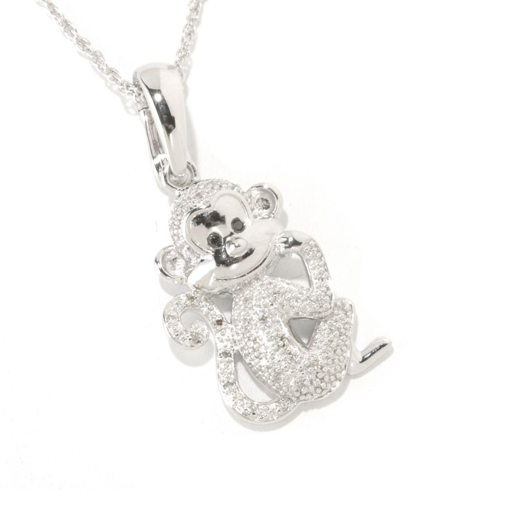 "125-609 - NYC II .11ctw White & Black Diamond Monkey Pendant w/ 18"" Chain"
