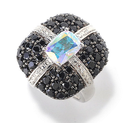 125-613 - NYC II Exotic Topaz, Black Spinel & White Zircon Ring