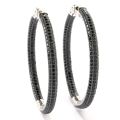 125-640 - Gem Treasures Sterling Silver 2'' 7.00ctw Black Spinel Inside-Out Hoop Earrings