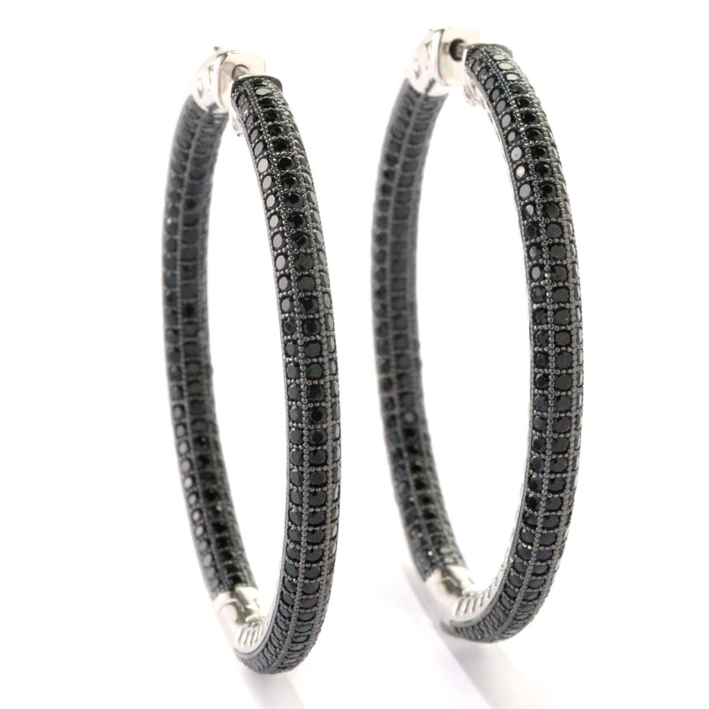 "125-640 - Gem Treasures Sterling Silver 2"" 7.00ctw Black Spinel Inside-Out Hoop Earrings"
