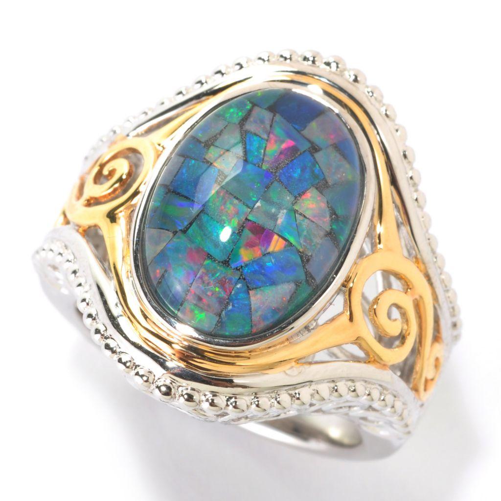 125-666 - Gem Insider 14 x 10mm Mosaic Opal Triplet Ring