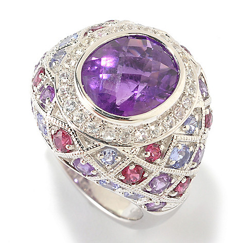 125-669 - Gem Insider Sterling Silver 6.19ctw Amethyst & Multi Gemstone Accent Ring