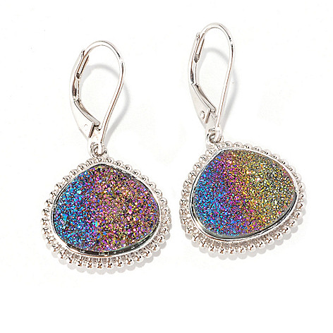 125-674 - Gem Insider Sterling Silver 13 x 15mm Rainbow Drusy Earrings