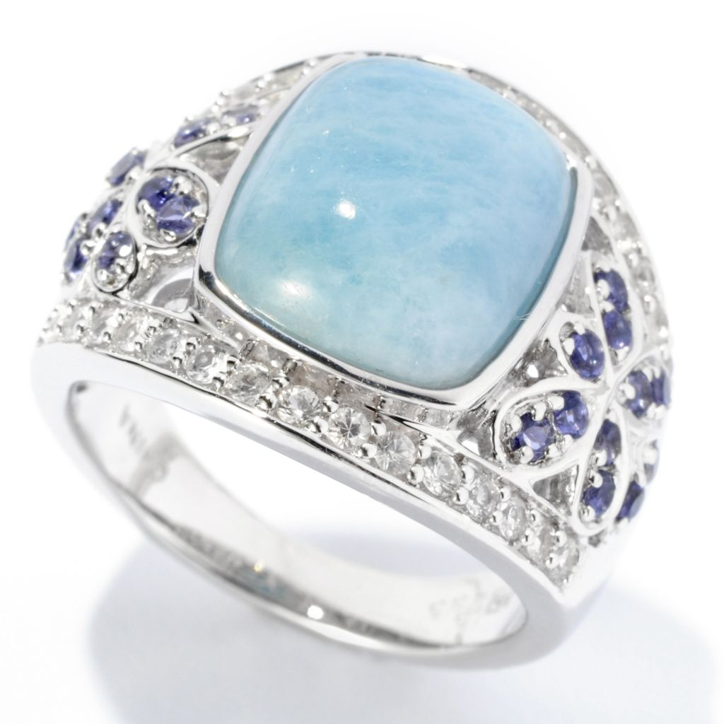 125-681 - Gem Insider Sterling Silver 12 x 10mm Cushion Cut Aquamarine  & Gemstone Ring