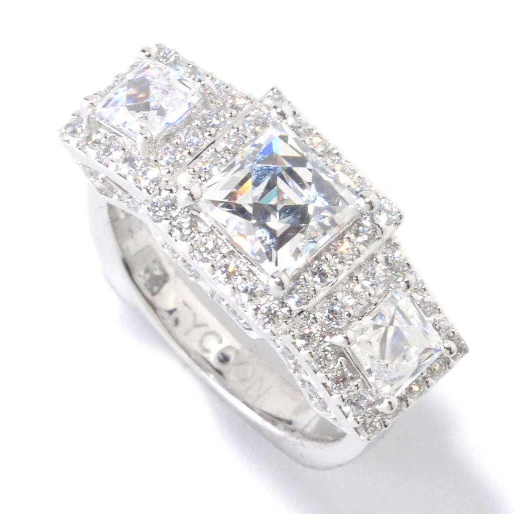 125-685 - TYCOON Platinum Embraced™ 2.75 DEW Square Simulated Diamond Three-Stone Ring