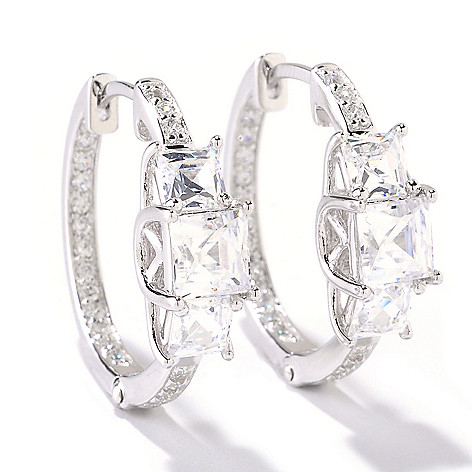 125-691 - TYCOON 3.42 DEW Three-Stone Simulated Diamond Hoop Earrings