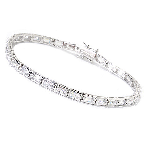 125-696 - TYCOON Platinum Embraced™ Tension Set Rectangle Cut Simulated Diamond Tennis Bracelet