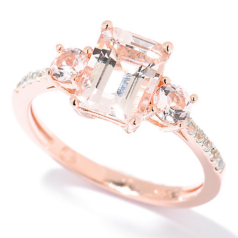 125-716 - NYC II™ 1.58ctw Emerald Cut Morganite & White Zircon Ring