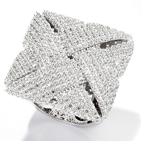 125-745 - Sonia Bitton Platinum Embraced™ 4.63 DEW Pave Set Simulated Diamond Woven Square Ring