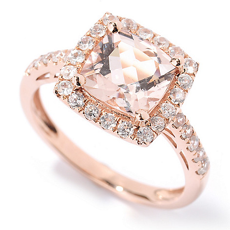 125-748 - Gem Treasures® 14K Gold 2.23ctw Morganite & White Zircon Cushion Cut Ring