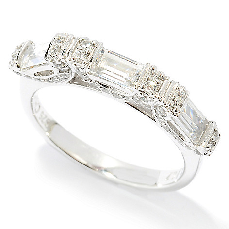 125-781 - Brilliante® Platinum Embraced™ 1.33 DEW Simulated Diamond Fancy Side Gallery Band Ring