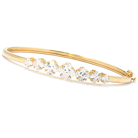 125-785 - Brilliante® 5.42 DEW Graduated Fancy Simulated Diamond Hinged Bangle Bracelet