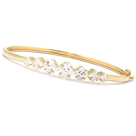 125-785 - Brilliante® 5.42 DEW Graduated Fancy Simulated Diamond Hinged Bangle Bracelet
