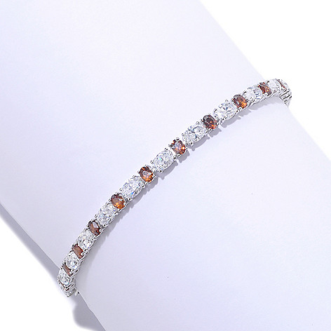 125-786 - Brilliante® Platinum Embraced™ Oval Cut Prong Set Simulated Diamond Tennis Bracelet