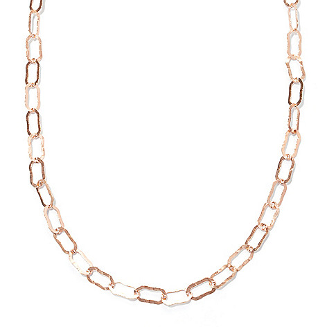 125-790 - Toscana Italiana 18K Gold Embraced™ 100'' Elongated Hammered Link Necklace
