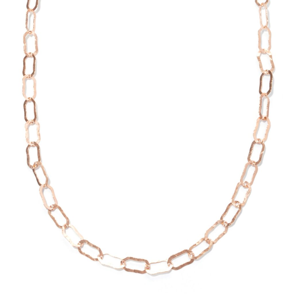 "125-790 - Toscana Italiana 100"" Elongated Hammered Link Necklace"