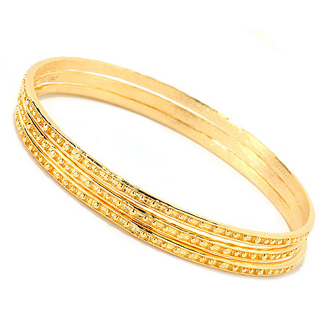 125-797 - Toscana Italiana Gold Embraced™ Set of Three Pallinato Slip-on Bangle Bracelets