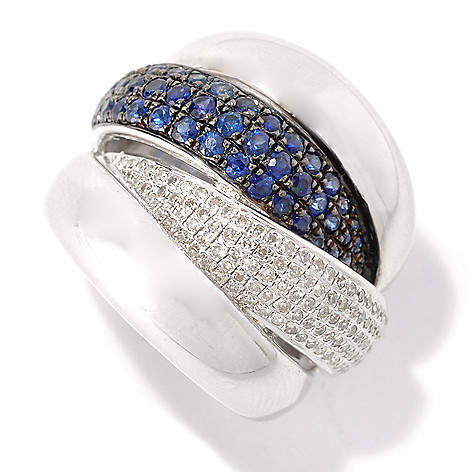 125-834 - EFFY Sterling Silver 1.75ctw Blue Sapphire & Diamond Balissima Ring