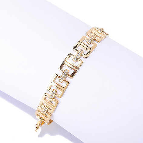 125-851 - Sonia Bitton Round Pave Set Simulated Diamond Link Line Bracelet