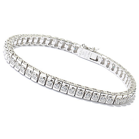 125-852 - Sonia Bitton Polished Round Cut Bezel Set Simulated Diamond Tennis Bracelet