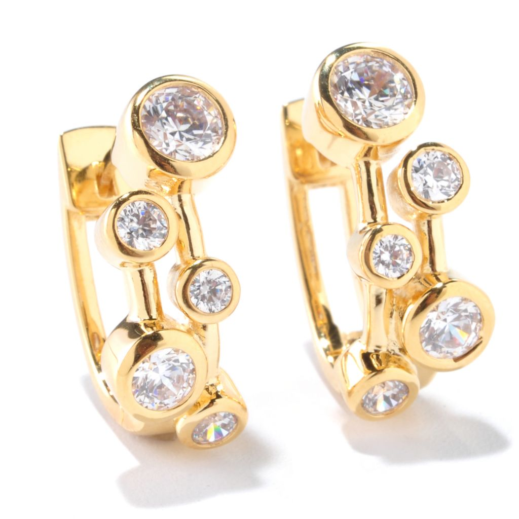 125-853 - Sonia Bitton 1.98 DEW Round Bezel Set Simulated Diamond Earrings