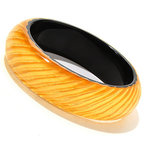 125-857 - Italian Designs with Stefano 24K ''Oro Puro'' Gold Foil & Resin Bangle Bracelet
