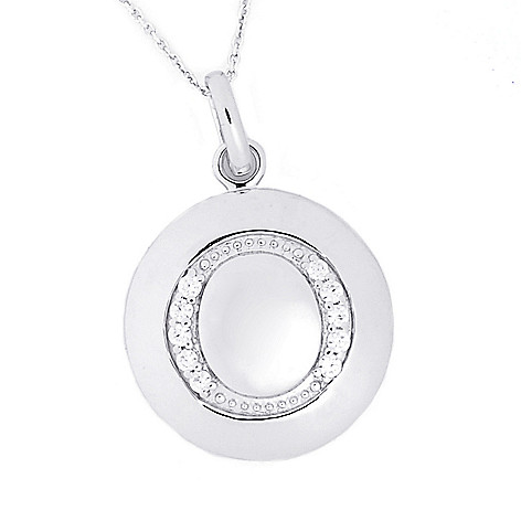 125-861 - Brilliante® Platinum Embraced™ Simulated Diamond Initial Pendant w/ 18'' Chain