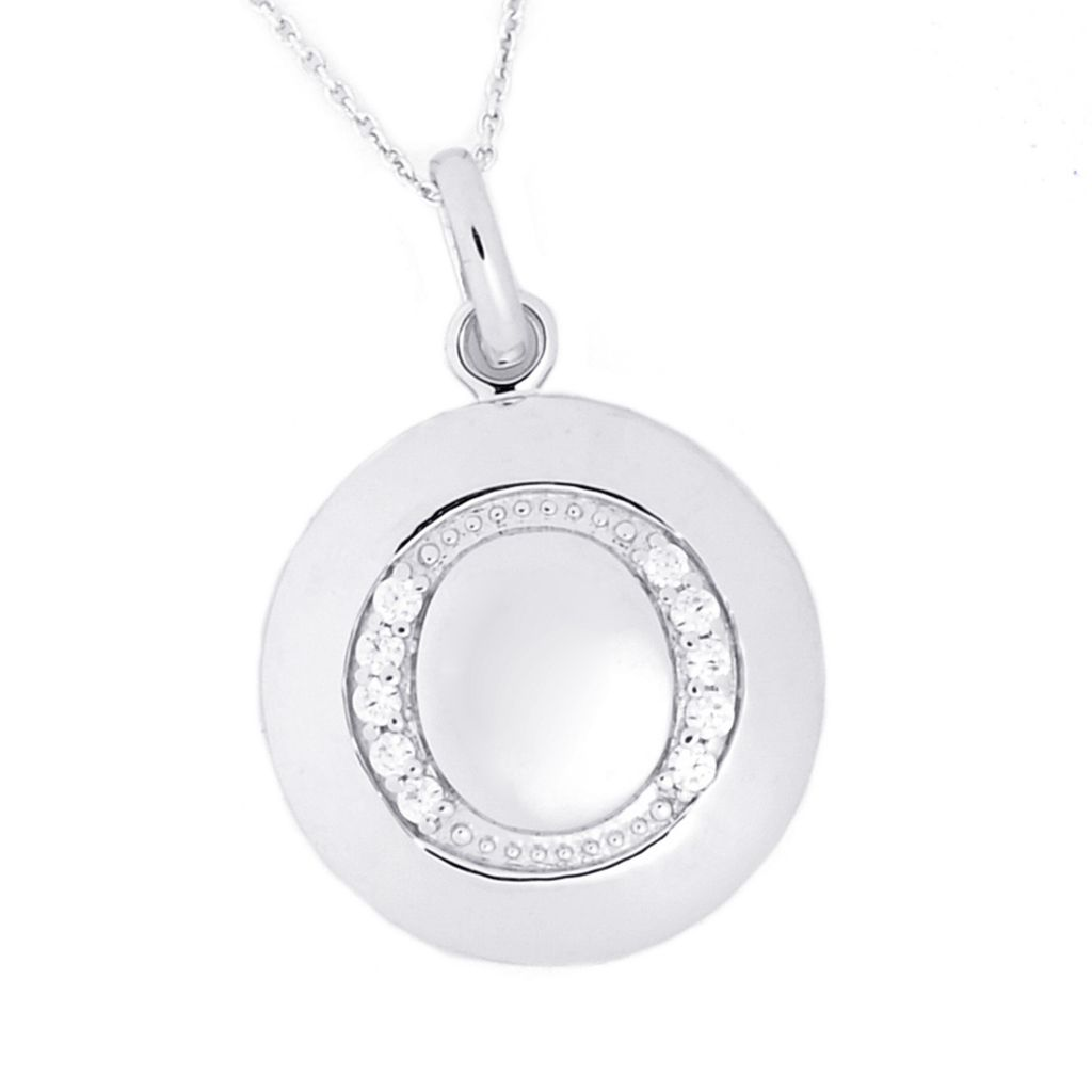"125-861 - Brilliante® Platinum Embraced™ Simulated Diamond Initial Pendant w/ 18"" Chain"