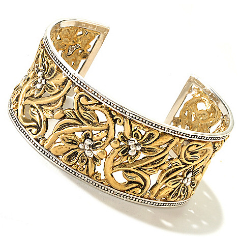 125-876 - GeoArt by Cynthia Gale 7'' Sterling Silver & Bronze ''Secret Garden'' Cuff Bracelet