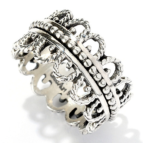 125-882 - GeoArt by Cynthia Gale Sterling Silver Filigree Spinner Ring