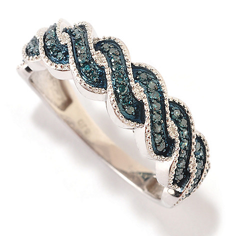 125-907 - Sterling Silver 0.20ctw Fancy Color Diamond Twisted Band Ring