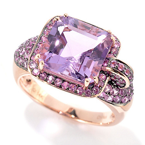 125-910 - Gem Treasures 14K Rose Gold 5.42ctw Amethyst & Pink Sapphire Abstract Halo Ring