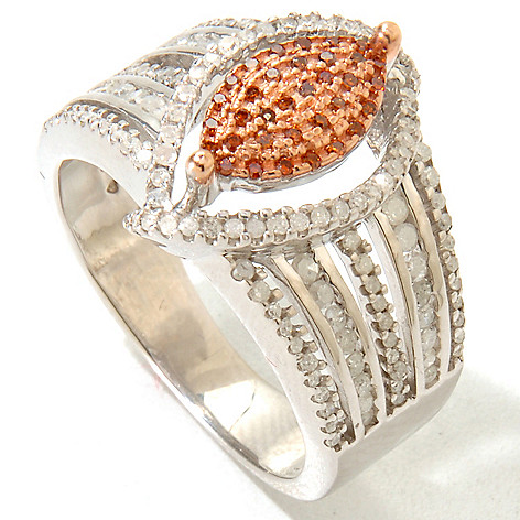 125-922 - Diamond Treasures® Sterling Silver 0.63ctw Red & White Diamond Marquise Ring