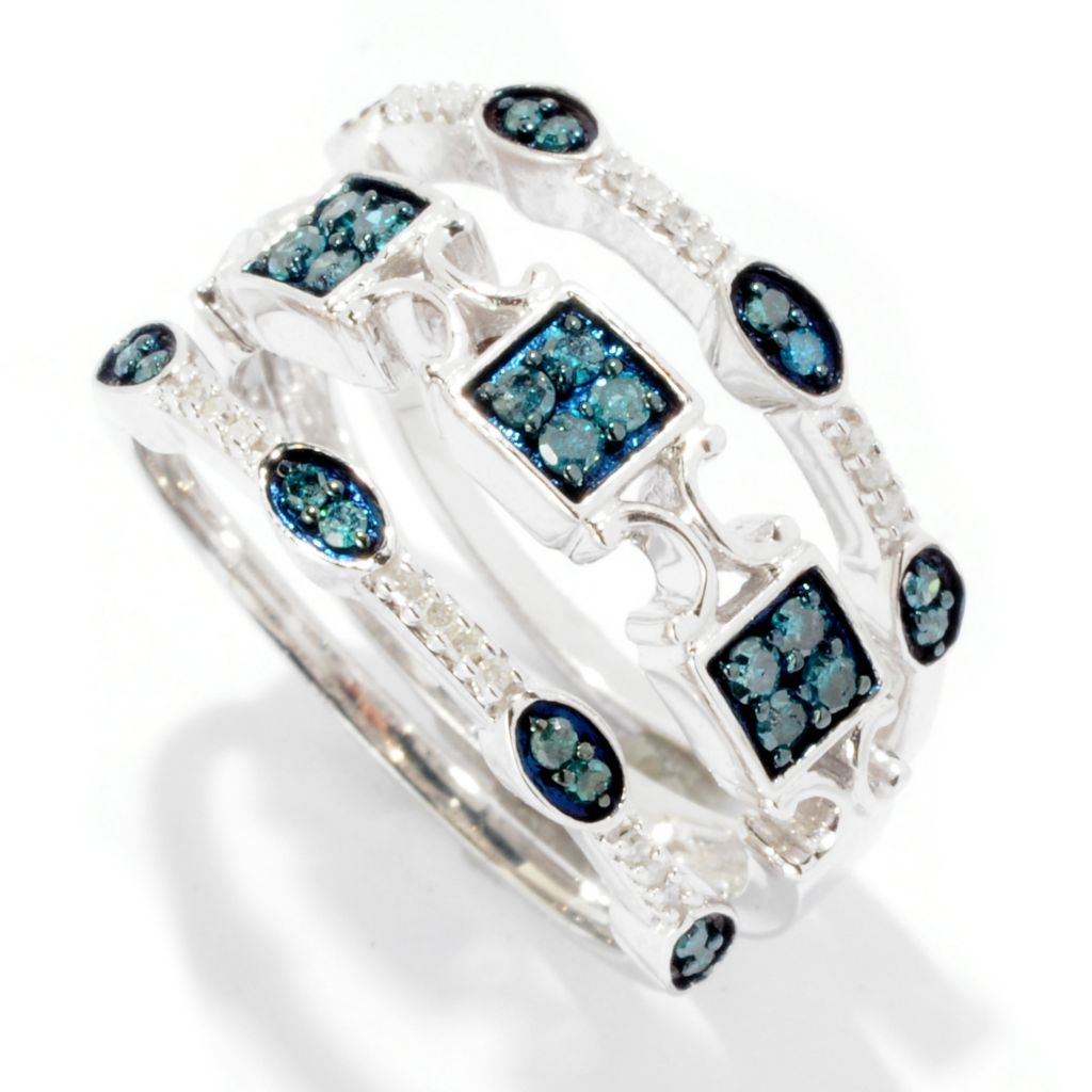 125-932 - Diamond Treasures Set of Three Sterling Silver 0.31ctw White & Blue Diamond Rings