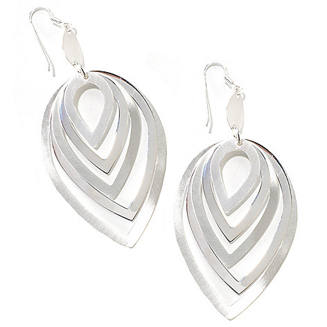 125-956 - SempreSilver® Satin Polished Graduated Multi Drop Earrings