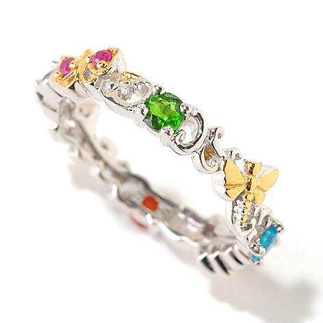 125-958 - Gems en Vogue II Multi Gemstone Critter Stack Ring