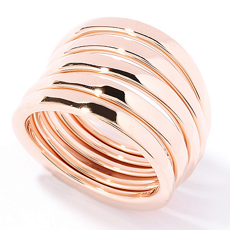 125-969 - Milano Luxe Gold Embraced™ Set of Five Tapered Stack Band Rings