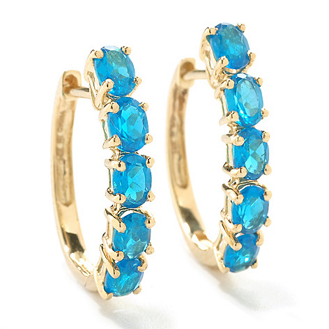 125-997 - Gem Treasures 14K Gold 1.62ctw Neon Apatite Petite Small Hoop Earrings