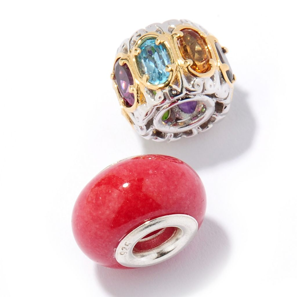125-998 - Gems en Vogue Set of Two Multi Gemstone Slide-On Charms